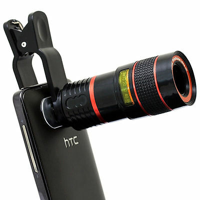 8x Clip-on Optical Zoom HD Telescope Camera Lens For Universal Mobile Phone