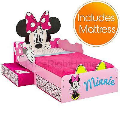 Minnie Mouse Mdf Toddler Bed With Storage + Deluxe Mattress New