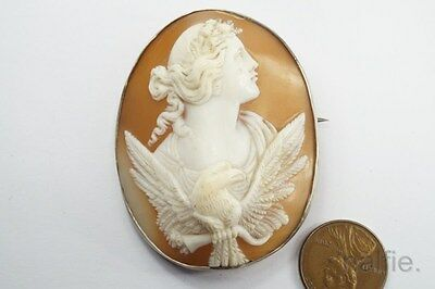 LOVELY ANTIQUE SILVER FINELY CARVED SHELL EOS / AURORA CAMEO BROOCH c1880