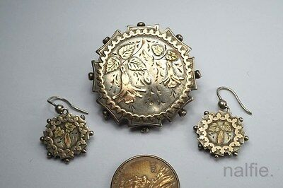 ANTIQUE ENGLISH VICTORIAN SILVER GOLD AESTHETIC BROOCH & EARRINGS SET c1880's