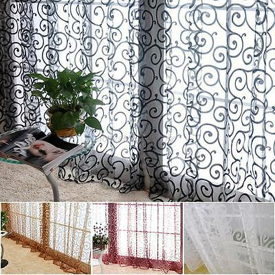 AU Window Panel Curtain Room Divider Floral Sheer Voile Balcony Tulle Scarf 2*1M