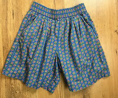 Vintage 80s Blue Floral Culotte Shorts 100% Cotton Lizsport Pocket Culottes Sz M
