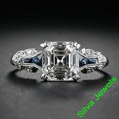 WHITE DIAMOND ASSCHER CUT VINTAGE ART DECO ENGAGEMENT WEDDING 5.00Ct SILVER RING