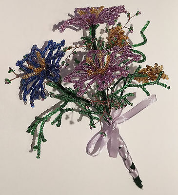 French Beaded Glass Flowers Handmade Wedding Bouquet Violet