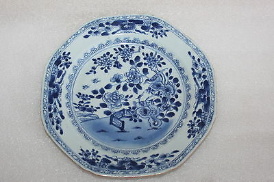 CHINESE 19th C EXPORT PORCELAIN BLUE & WHITE OCTAGONAL PLATE FENCE & BIRDS