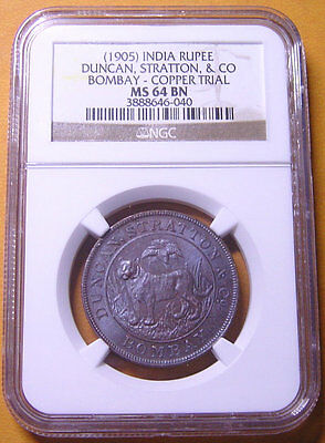 India 1905 Bombay 1/8R 1/2R & Rupee Copper TRIAL 3 coins NGC MS63~64 Very Rare