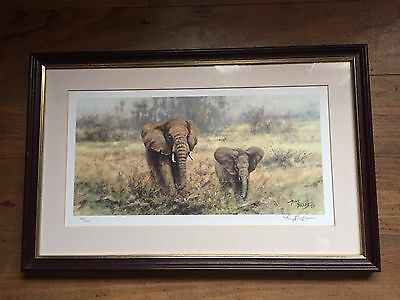 Beautiful Signed Limited Edition Framed Print Of Elephants By Tony Forrest