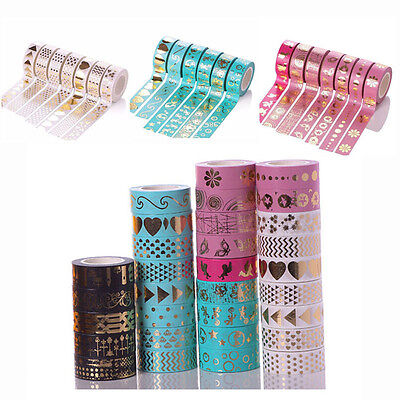 5/6/7pcs Craft Masking Sticky DIY Paper Washi Tape Metallic Adhesive