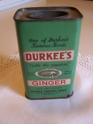 Vintage Durkee's 4 Ounce Spice Tin, Ginger, Contains Spice, Lift-Off Top