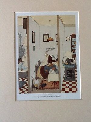 Vintage W. Heath Robinson mounted print Flat Life Chilly Mornings
