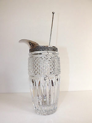 Italian Hallmarked Silver & Crystal Cocktail Mixer & Matching Silver Spoon