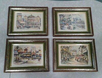 VINTAGE Framed Art pictures Shabby Chic Paris Scenes French Country set of 4