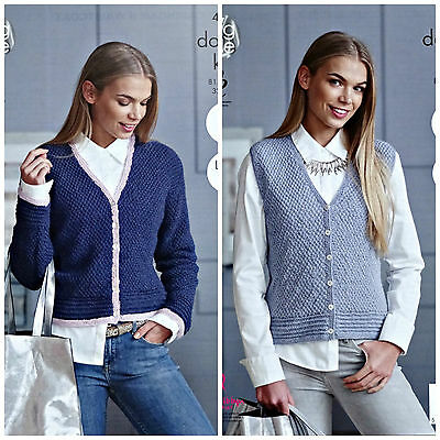 KNITTING PATTERN Ladies Easy Knit V-Neck Cardigan & Waistcoat DK King Cole 4866