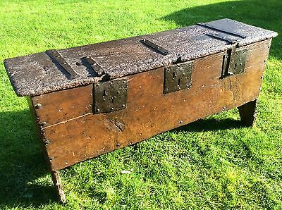 Extremely Rare 16th Century Elm Oak Iron Bound 6 Plank Chest Coffer 15th 17th
