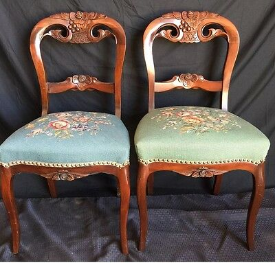 Rare Antique Set Of 6 Needlepoint Carved Dining Chairs
