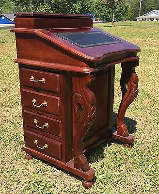Superior Mahogany Carved Davenport Desk Solid Wood