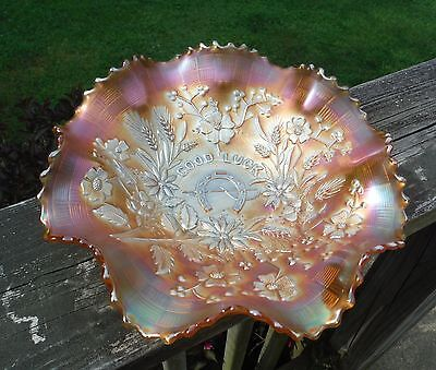"Northwood Good Luck Marigold Carnival Glass 8 3/4"" Ruffled Bowl~EXCELLENT!"