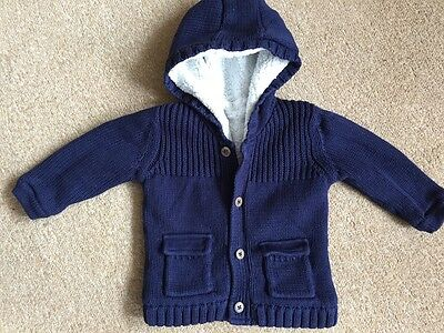 M&S baby boy Pure Cotton Hooded Cardigan/coat jacket 6-9 months