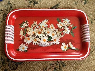 """Vintage Red Metal Tray With Daisies  14 1/4"""" x 8 3/4"""""""