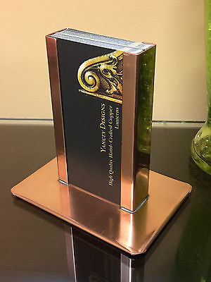 Modern Vertical Raw Copper Business Card Holder
