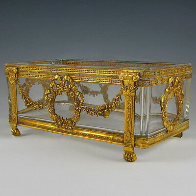 Antique French Gilt Bronze Glass Centerpiece Jardiniere Empire Napoleon III