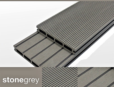 Grey Composite Decking 10sqm Kit & clips -Eco WPC Wood Plastic- 25 Year Warranty