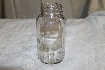 Vintage McLaughlin's Manor House Coffee Clear Glass Jar 1940's Art Deco NICE!