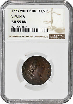 1773 With Period 1/2P Virginia Halfpenny NGC AU55 BN
