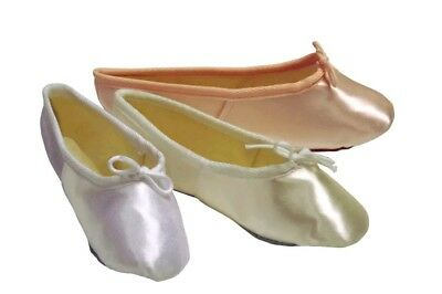 Girls Satin Bridal Ballet Shoes In White Pink & Ivory (Junior 5 - Adult 9)