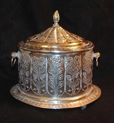 Antique Middle Eastern Islamic Silver Metalwork Box Marked Engraved VGC