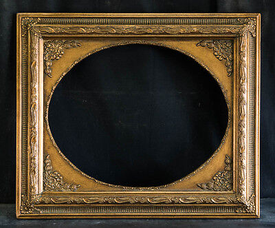 """Antique Reproduction Ornate Oval Gold Frame 16"""" x 20"""", 2 1/2"""" Wide, 1"""" Thick"""