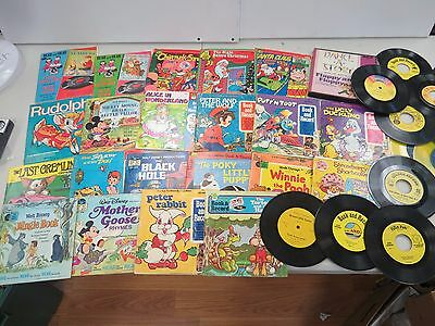 Vintage Lot 37 pc Book and Record Read Along Disney Gremlins Winnie Pooh G953H