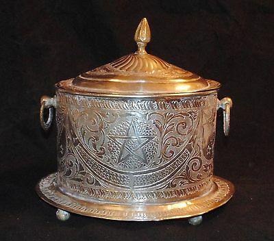 Antique Islamic Middle Eastern Silver Metalwork Oval Box Engraved Footed VGC