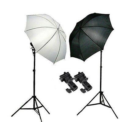 Photo Studio Video Speedlite Flash Umbrella Lighting Light Stand+2 Bracket B Kit