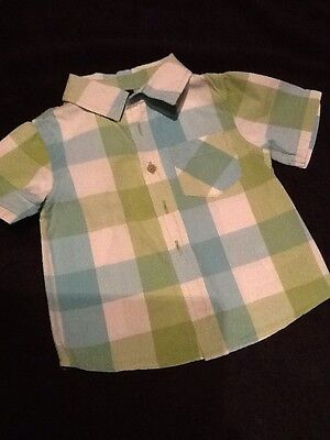Baby Boys Next Green/ Blue/ White Checked Shirt 6-9 Months