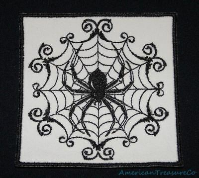 Embroidered Retro Black & White Gothic Spider In Web Patch Iron On Sew On USA