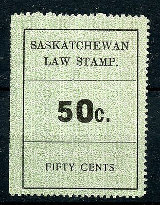 Weeda Saskatchewan SL25 VF unused 50c Law Stamp revenue, SE at left CV $35