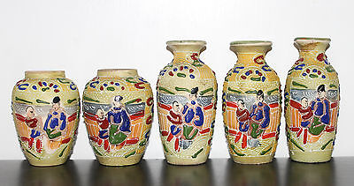 Job Lots of 5 Vintage Japanese Satsuma Hand Painted Enamel Pottery Vases