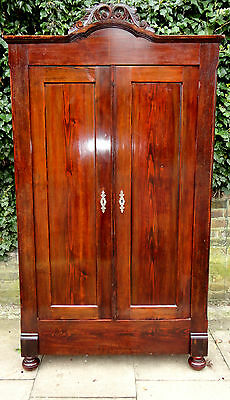 Genuine Antique French 19th Century Armoire Hand Carved Provincial Wardrobe VGC
