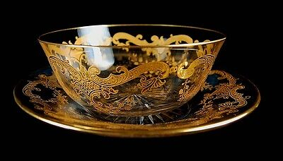 Antique French St Louis Massenet Rich Gold Encrusted Glass Bowl & Plate Set!