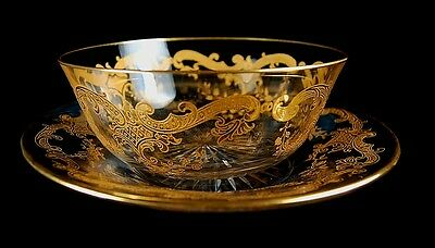 Rare Antique French St Louis Rich Gold Massenet Glass Bowl & Plate Set! 4 Avail!
