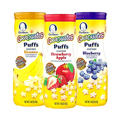 6-Pack Gerber Graduates Puffs Cereal Snack Variety Pack Naturally Flavored Baby.