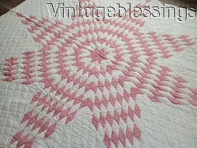 """Very nice ANTIQUE c1900 Double Pink Star QUILT 75"""" x 64"""""""