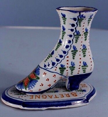 EARLY Unsigned QUIMPER French Faience Bottine High Heel Shoe w Geometric Star AP