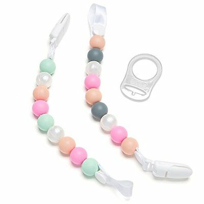 Teether Pacifier Clip 2 Pack Pink Pearls Design For Girls Silicone Pacifier H...