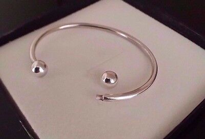 Ladies 925 Sterling Silver Screw End Charm Torque Bangle Bracelet Gift Box 3 mm