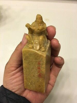 """Chinese 100% Natural Shoushan Stone Hand-Carved  Statue Seal Stamp 4"""" x 1.2"""""""