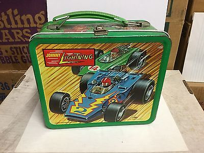 Johnny Lightning racing rare metal lunch box 1970s