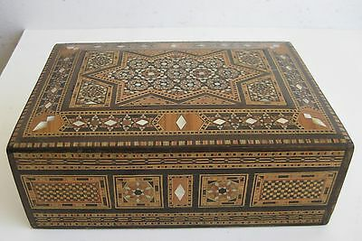 Fine Old Indian Carved MOP Inlay Geometric Stars Pattern Jewelry Puzzle Box