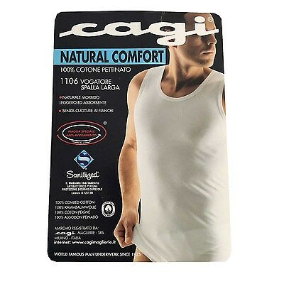 CAGI rower wide shoulder man white mod 1106 100% cotone
